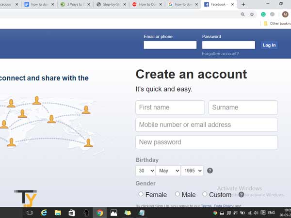 sign-in to your Facebook account