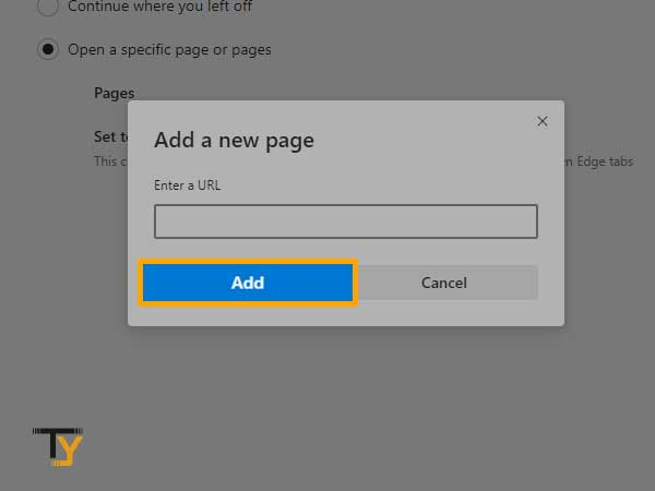 enter the URL that you want to make or set as homepage in microsoft edge
