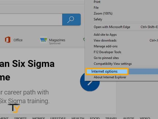 click on the 'Settings' icon and then click on the option 'Internet Options' in internet explorer
