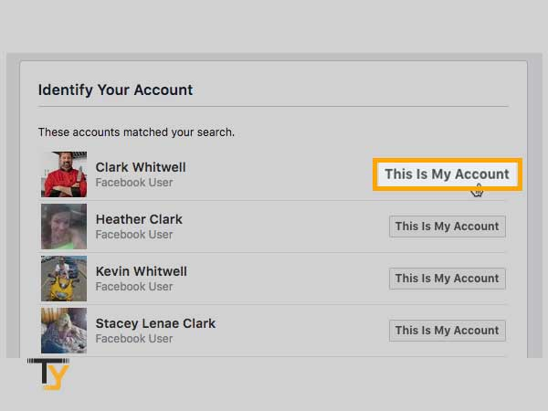 identify your account and click 'This is my account