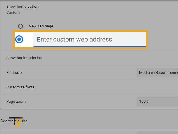Enter custom web address in Chrome