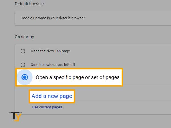 Open a specific page or set of pages in chrome