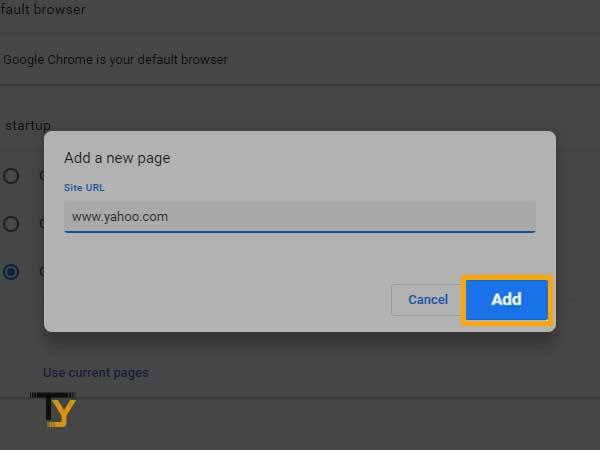 enter the address that you want Chrome to open when it launches