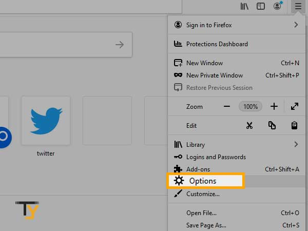 click on 'Options in mozilla firefox