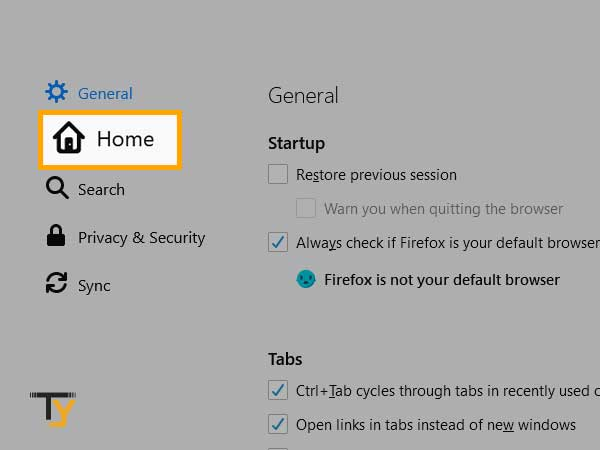click on Home in mozilla firefox