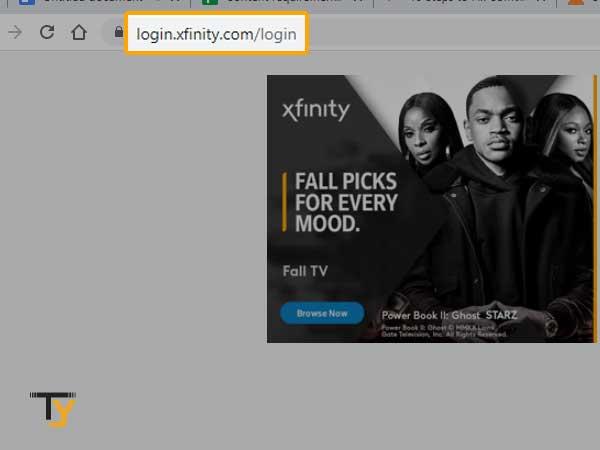 Comcast login screen