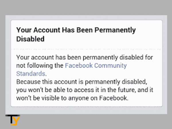 facebook account has been permanently disabled