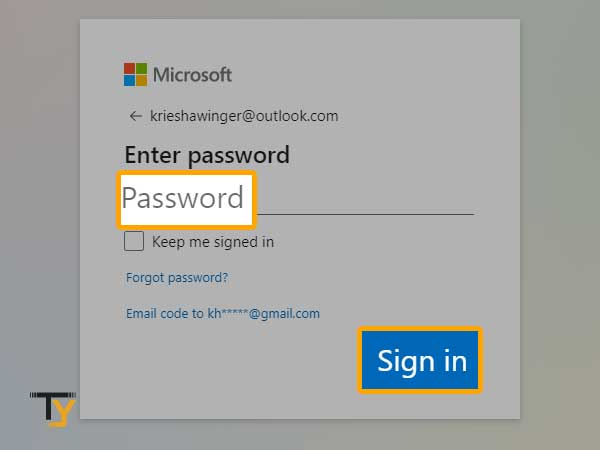 enter your Outlook password