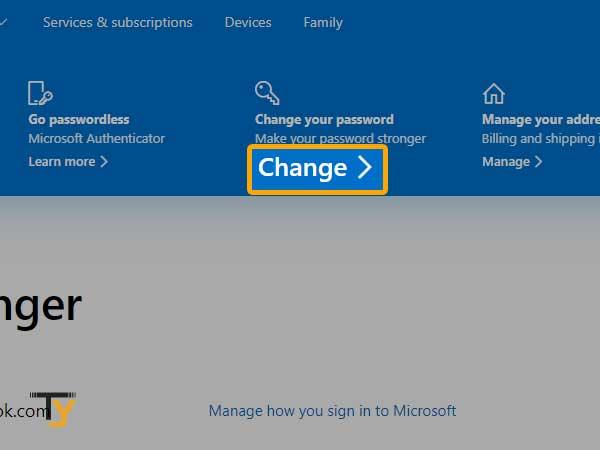 Change your password in outlook
