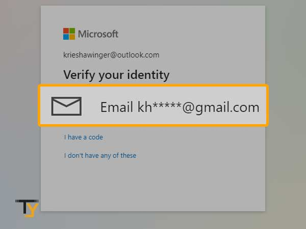 Verify your identity in outlook account