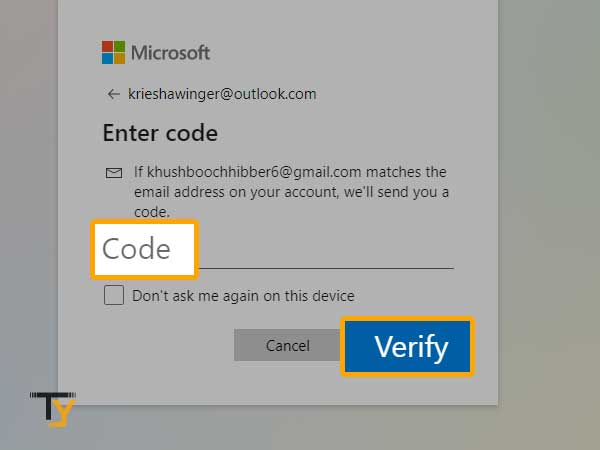 Enter Verification Code in Outlook Mail