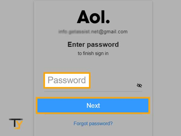 enter the password of your AOL account