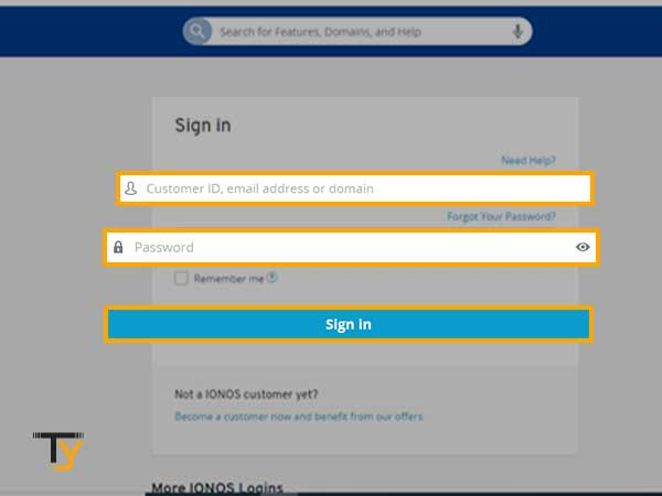 """Enter the """"Customer ID, Email Address or Domain"""" along with """"Password"""" and hit the """"Sign-in"""" button"""