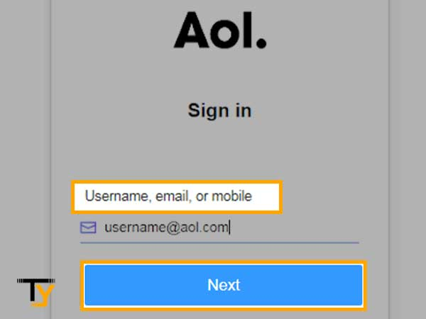 Enter your AOL account's username