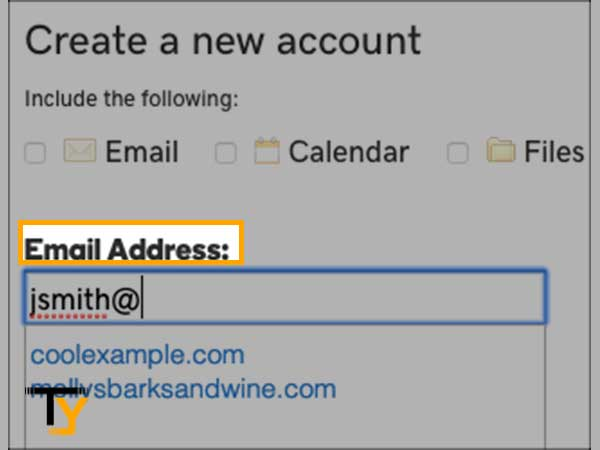 type in your email address