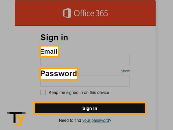 Enter your Office 365 email address and password