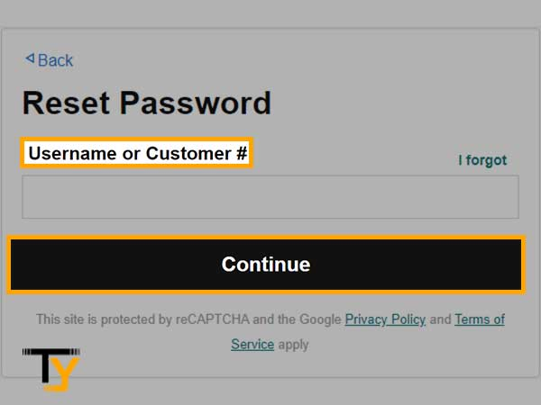 enter your Username in order to reset the password
