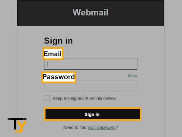 GoDaddy webmail login page