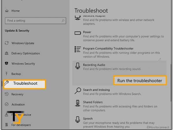 Run the troubleshoot