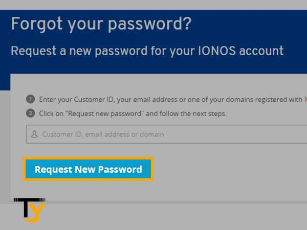 """Click on the """"Request New Password"""" link"""