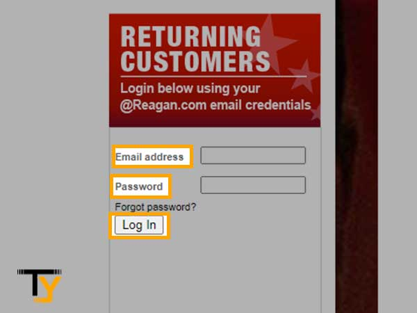 Enter Reagan Email login details
