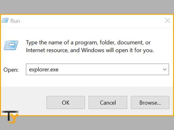 """Enter """"Explorer.exe"""" and click on """"OK"""" inside Windows Run Utility Box"""