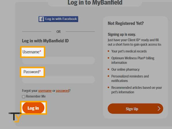 enter your Banfield username and password