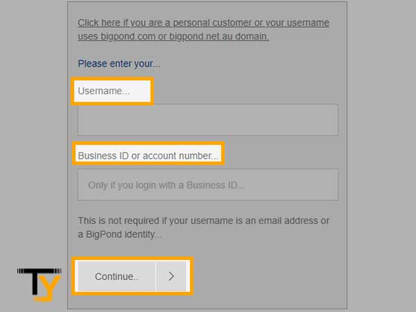 enter your  Username and Business ID or account number and then click on Continue.