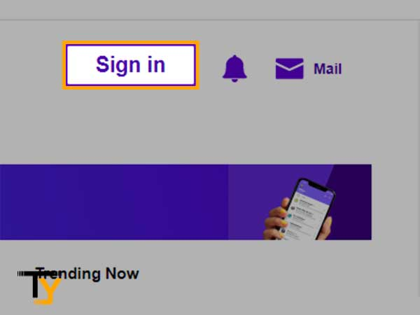 """Go to Yahoo.com page and click on """"Sign-in"""" button"""