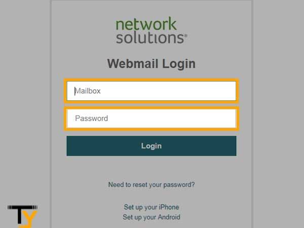 On the webmail login page of networksolutions.com; type in your 'Mailbox name' and 'Password' to log in