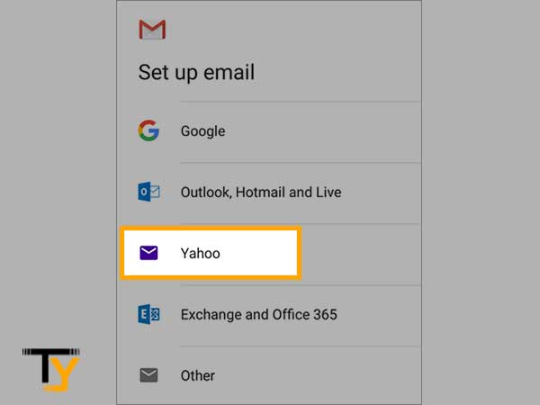 """Select """"Yahoo"""" from the list of email clients"""