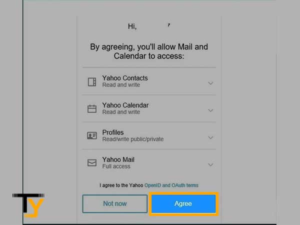 """Tap on """"Agree"""" to give permissions to the Gmail app"""