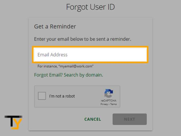Enter your 'Email Address' and click on 'Next'