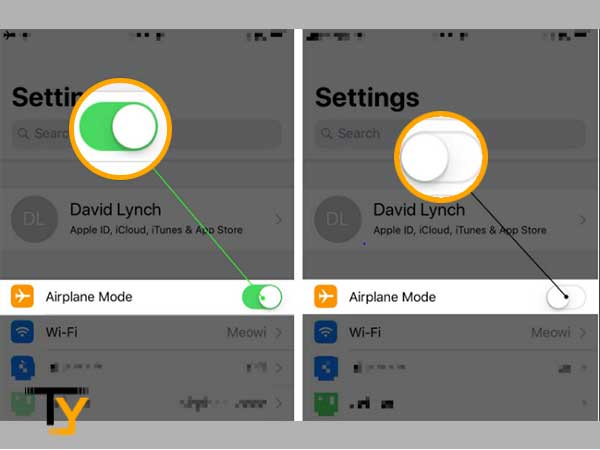 Toggle the Airplane mode 'On' and then, 'Off'