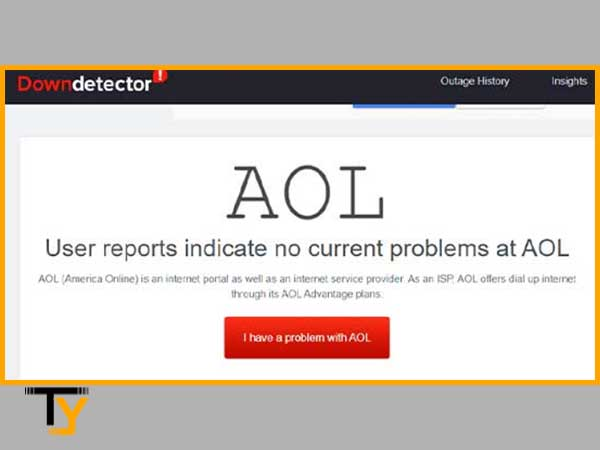Outage history shows no current problems at AOL