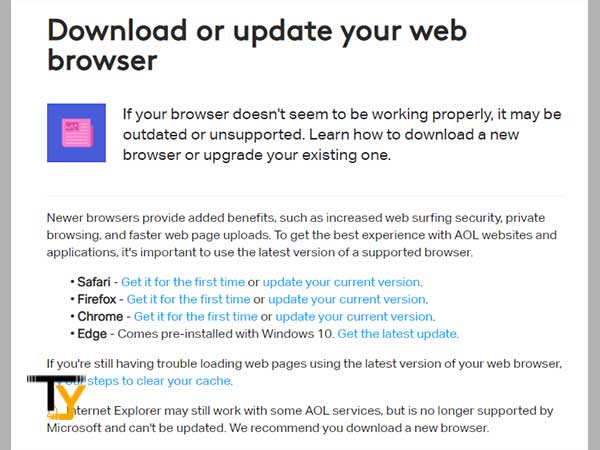 Download or Update your Respective Web Browser