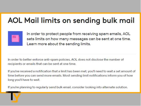 Check AOL emails sending limit