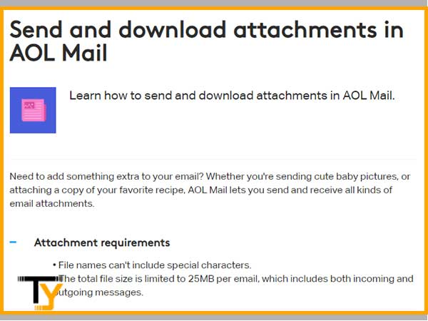 Check the maximum limit to send and download attachments in AOL  Mail