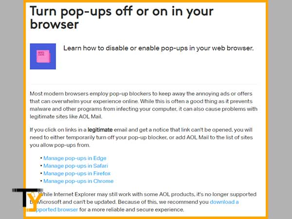 Turn off Pop-ups in your Respective Web Browser