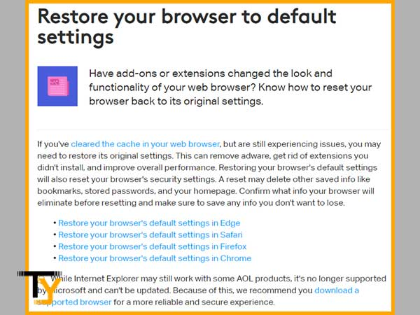 Restore your respective Web Browser to its Default Settings